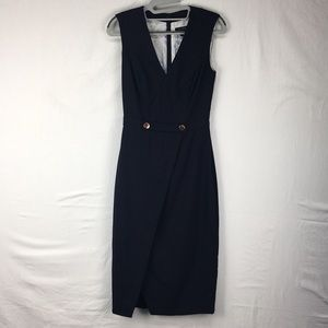 Ted Baker Cerisad Navy Faux-Wrap Pencil Dress